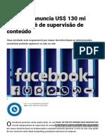 Facebook anuncia US$ 130 mi para comitê de supervisão de conteúdo