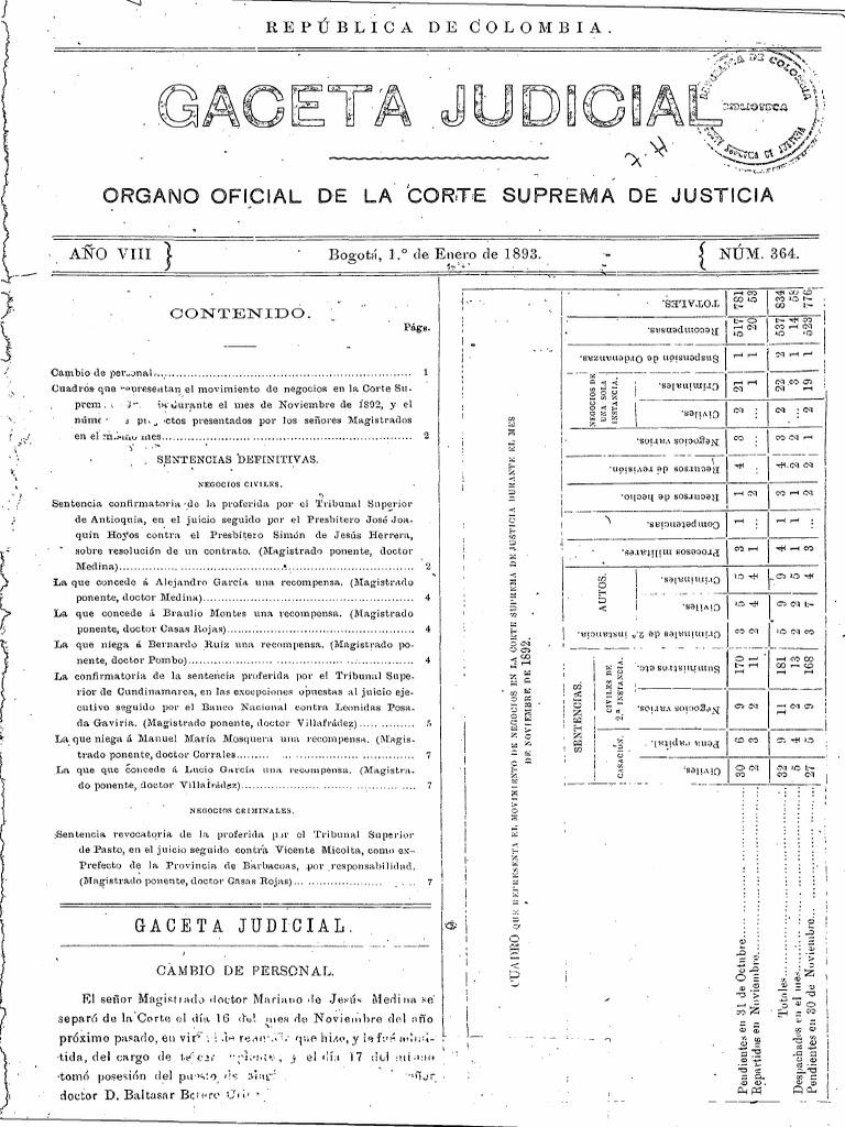 Gj Viii N 0364 0416 1893 Instituciones Gubernamentales Sentencia Ley