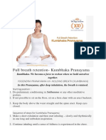 Full Breath Retention- Kumbhaka Pranayama