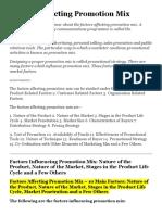 Factors Affecting Promotion Mix