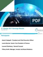 3rd Quarter 2017 Earning Results - November 2017