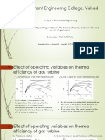 Effect of operating variables on the thermal efficiency and work ratio and air rate of gas turbine ppt