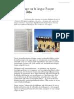 Témoignage Sur La Langue Basque Donostia 2016
