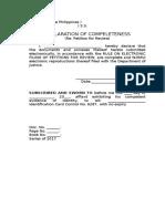 Declaration of Completeness 1.doc