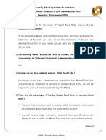 FAQs by Investors Holding of Mutual Fund Units