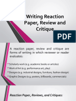 WRITING A REACTION PAPER, PRECIS AND SUMMARY