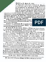 Gaceta de Madrid Fallecimiento Pedro de Castilla y Caballero 1767