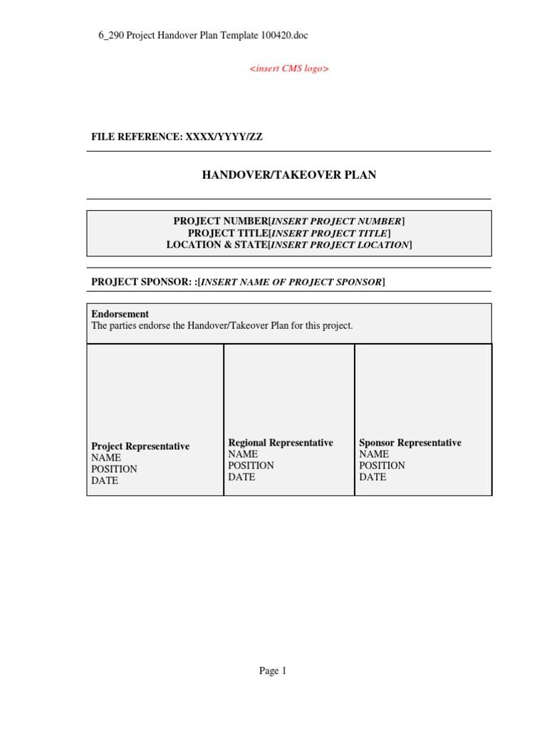 Project Handover Plan Template General Contractor – Handover Report Template