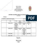 mOnitoring on Quarterly Schedule of activities in english
