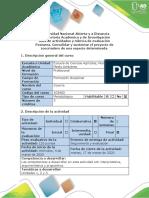 Guía de actividades y Rúbrica de evaluación - Postarea. Consolidar y sustentar el proyecto de zoocriadero de una especie determinada