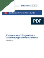 Enterpreneus programme - Accelerating commercialisation