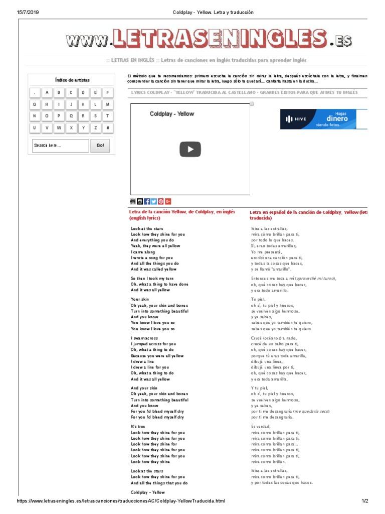 Coldplay Yellow Letra Y Traducción Música Grabada Música Pop