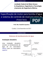19-Especificação de motor para bomba d'agua e sistema de controle de nível por meio de chave boia