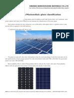 Solar GlassPhotovoltaic Glass Classification