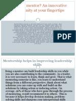 Shalamon Duke | Why be a mentor