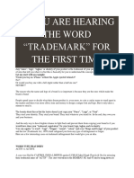 """If You Are Hearing the Word """"Trademark"""" for the First Time"""