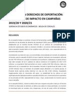 Bolsa de Cereales de Buenos Aires - Impacto del aumento de los Derechos de Exportación - Diciembre 2019