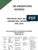 PLAN DE ASIGNATURA 9DE GEOMETRIA GRADO NOVENO 2019