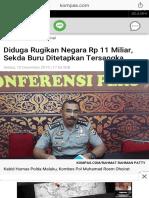 Diduga Rugikan Negara Rp 11 Miliar, Sekda Buru Ditetapkan Tersangka - Kompas.com