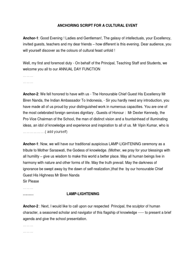 Anchoring Script for a Cultural Event   Dances