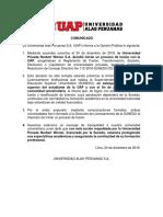 Anuncio de la Universidad Alas Peruanas