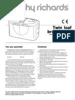 Morphy Richards Twin Loaf Rapide Breadmaker instruction manual (48270)