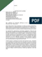 Carta a gobierno nacional Bicitaxismo