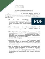 affidavit of undertaking..