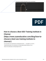 How to Choose a Best SEO Training Institute in Chennai - Zuan Education