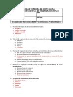 Resolucion EXAMEN DE ROCAS Y MINERALES
