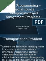 Linear Programming – Special Topics