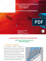 Evaluación del Método de Explotación - Métodos de Explotación Subterráneos.pptx