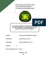 INFORME DE MASA 3 ANALOGIA DE LOS 3 TIPOS DE TRANSFERENCIA