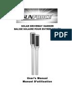 Sunforce Solar Driveway Marker Manual