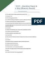 Tissnet 2019 Question Paper Answer Key
