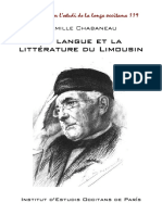 Camille CHABANEAU. La langue et la littérature du Limousin