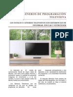 REPORTAJE  GÉNEROS DE PROGRAMACIÓN TELEVISIVA