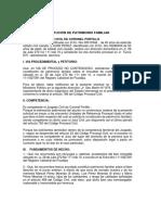 Escrito de solicitud de constitución de patrimonio familiar