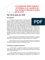 DISCURSO DE HAILE SELASSIE I ANTE LA SOCIEDAD DE NACIONES, 30.VI.1936