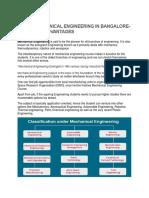 Study Mechanical Engineering in Bangalore