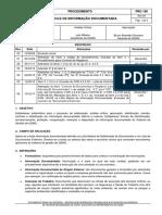 Procedimento controle registro e informação documentada obra