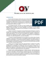 Informe Anual de Violencia 2019. Venezuela