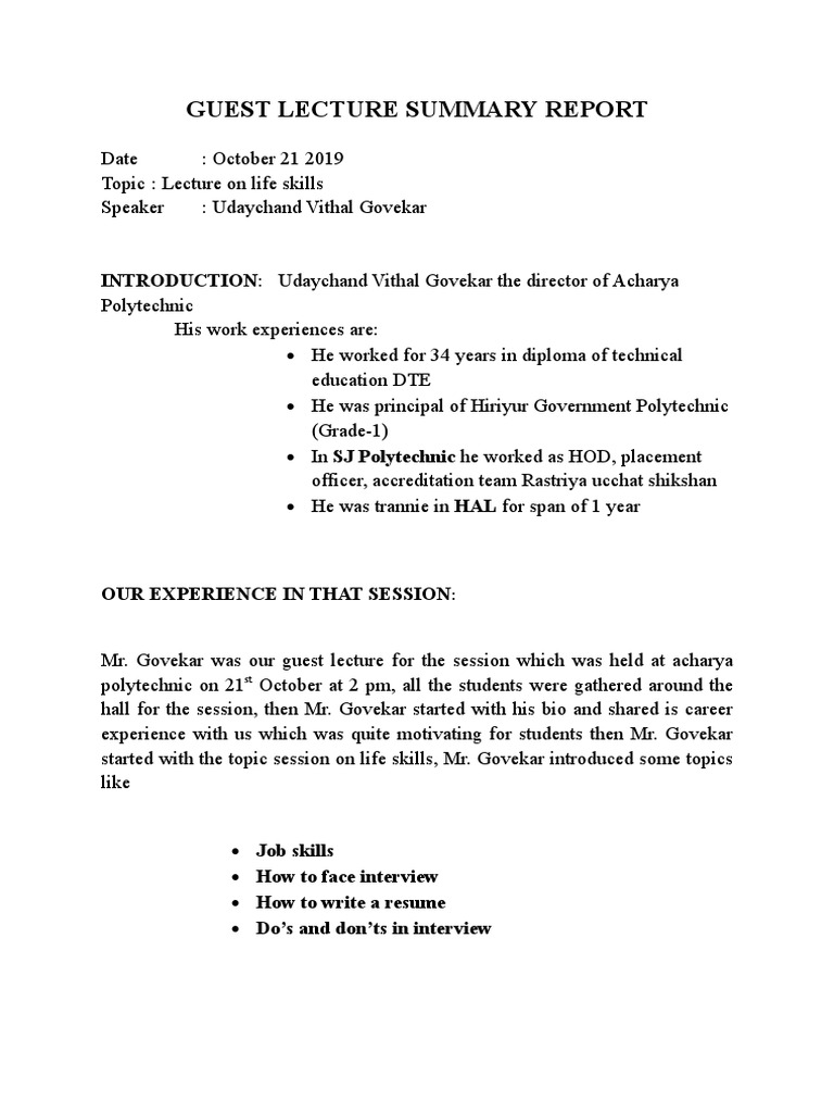 Guest Lecture Summary Report Doc28  PDF