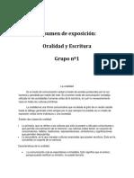 informe de oralidad y escritura