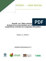 Grandir, oui ! Mais comment  Analyse de la concentration par fusions des coopératives vinicoles du Languedoc-Roussillon