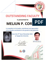 MELJUN CORTES TCU 2018 Certificate of Recognition Outstanding Faculty - TEACHER