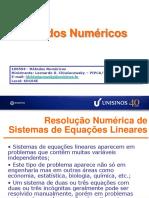 Solução de Sistemas de Eqs. Lineares