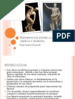 diferencias entre escultura griega y romana