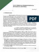 SICSÚ, João. Uma crítica à tese da independência do banco central