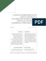 SICSÚ, João. A tese da independência do banco central e a estabilidade de preços - uma aplicaçao do método